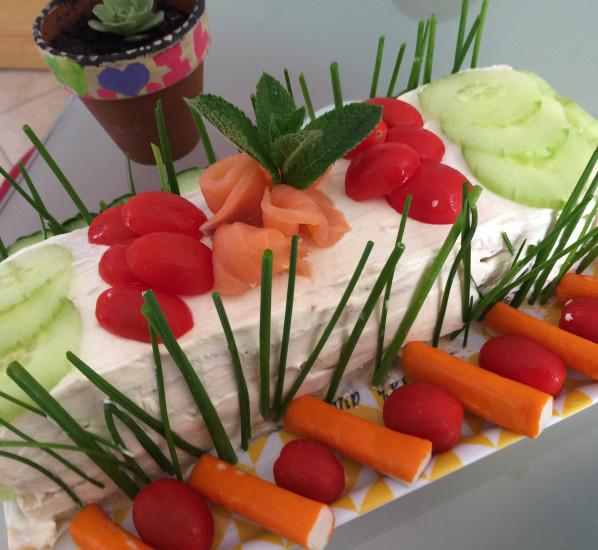 Sandwich cake saumon-crabe