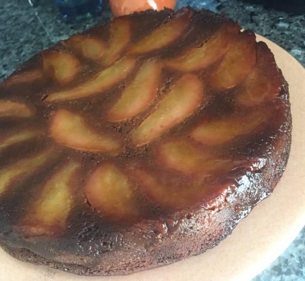 Gâteau renversé choco-poire